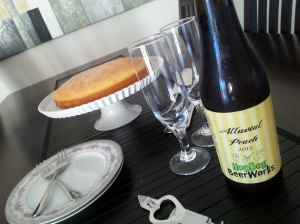 peach wheat beer and cake